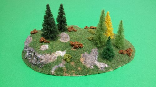 finished wooden base with 6 trees